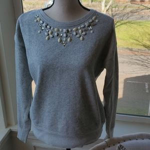 Ann Taylor Jeweled Necklace Sweatshirt S